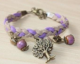 Purple bracelet, leather bracelet, braided leather bracelet, charm bracelet, beaded bracelet, cuff bracelet, leather jewelry, OB-10211