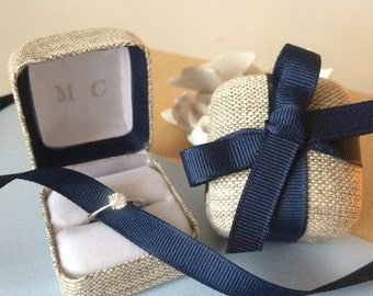 Linen ring box with your initials
