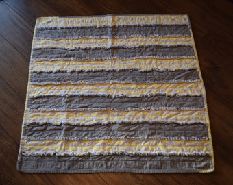 Gray and Yellow Chevron Baby Rag Quilt