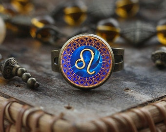 Leo Zodiac ring, Leo ring, Leo Zodiac Jewelry, Leo constellation ring, Leo Zodiac Sign ring, Astrology ring