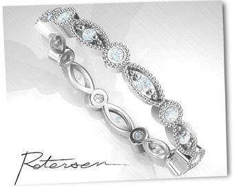 Full Eternity Band - Promise Ring - White Gold Band -  Art Deco Wedding Band - Bead & Eye Ring - Stacking Ring - Milgrain Band