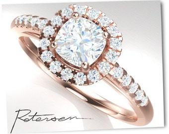 Rose Gold Engagement Ring - Cushion Cut Halo Ring - Art Deco Ring - Promise Ring - Vintage Ring Wedding Ring Rose Gold diamond simulant cz