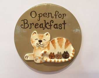 Cat With Kittens,Open For Breakfast,Magnet,Refrigerator Magnet,Mother Cat And Babies,Polymer Clay Magnet,Nursing Baby Kittens,Kittens,Cat
