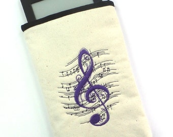 Sale 11.00 (orig. 21.00)Musical Notes Pouch, E-reader pouch, Kindle pouch, Paperback book pouch, Cosmetic pouch, Gadget pouch, Coin pouch