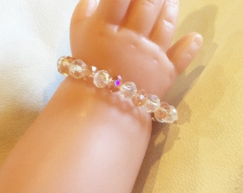 Clear & Peach Crystal Beaded Baby Bracelet