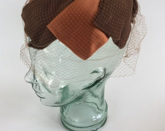 Vintage 1960s Brown and Orange Birdcage Veiled Headpiece