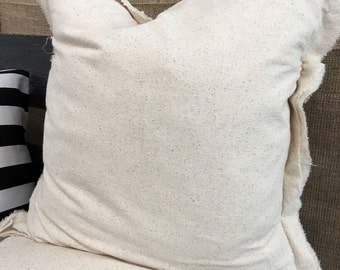 Frayed Natural Pillow Cover