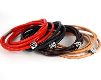 Mens Bracelet or Necklace Couples Bracelet Boho Leather Wrap Bracelet Sterling Silver 5-wrap Leather Bracelet Everyday jewelry gift for him