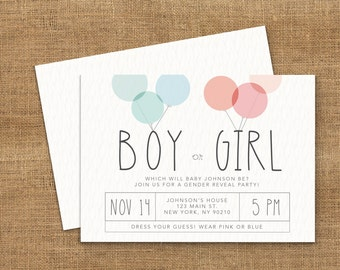 Balloon Gender Reveal Invitation - Boy or Girl - He or She - Printable Pink or Blue