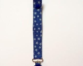 Clip pacifier blue cotton patterned star