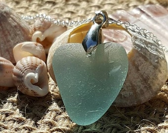 ON SALE Seaglass Heart Necklace Blue