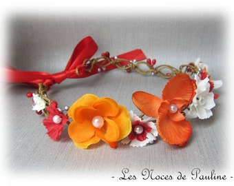 Crown of flowers wedding orange er red Orchid