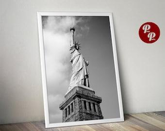 New York Print, Statue of Liberty, NYC Art, Neutral, Gray, Monochrome, Manhattan Photography, Poster, Digital print, wall art, wall decor