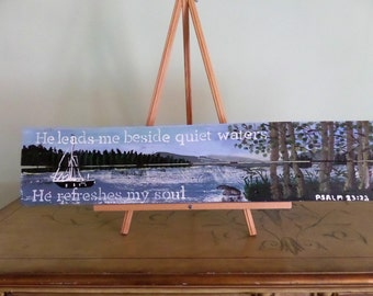 He leads me beside quiet waters Psalm 23:2,3 handpainted  wood pallet scripture wall art. Brant Lake NY
