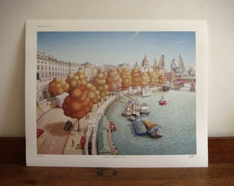 London print - Victoria embankment - London skyline - limited edition - London art - river Thames -London painting - London picture