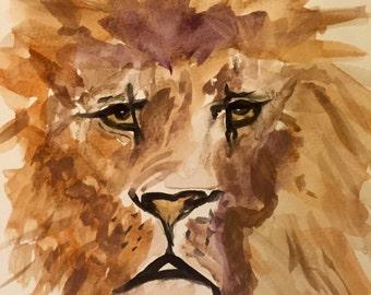 The king - Lion original watercolor-not a print