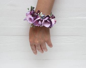 Ready to ship Purple lilac wrist corsage Bridal flower accessories Flower bracelet Flower corsage Bridesmaids corsage  Weddings