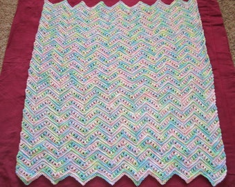 Crocheted Baby Blanket Multi-Colored Ripple