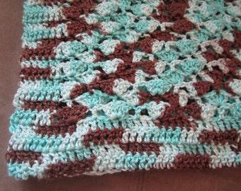 Crocheted Baby Blanket Aqua & Brown Shells