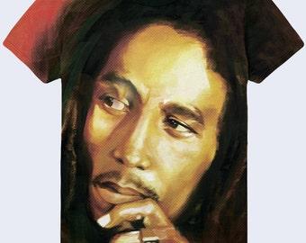 Bob Marley T Shirt, Reggae Style Shirt, Mens Shirt, Music T Shirt, Colorful T Shirt, Jamaica T Shirt