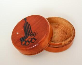 Vintage USSR Soviet wooden box Moskow Olimpics Games 1980