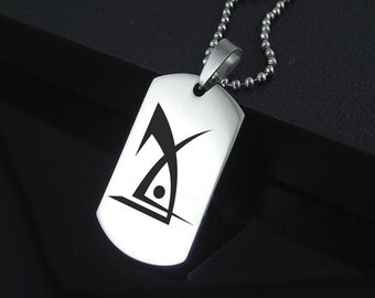 Deus Ex Stainless Steel Dog Tag Military Cyberpunk Cosplay Dystopian Pendant Style Jewellery