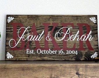 Rustic Painted Family Name Sign Stained Wooden Pallet Art Home Decor Wedding Anniversary Gifts