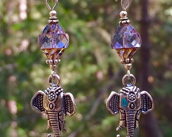 Elephant jewelry-tribal-ethnic-Ganesh-good luck charm-Silver and Crystal-sterling silver jewelry