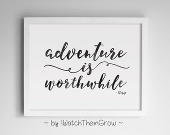 """Printable """"Adventure Is Worthwhile"""" Travel Quote Wall Art, Black Watercolor Adventure Travel Nursery 8x10 & 11x14 JPG INSTANT DOWNLOAD"""