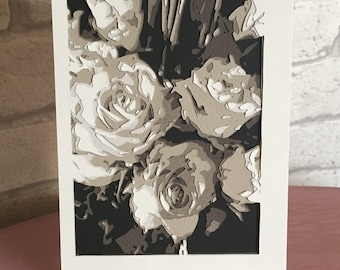 Monochrome roses papercut art on stand, home decor, gift for family or friends