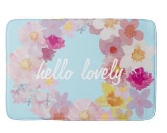 Hello Lovely Floral Print Bathmat