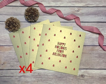 Custom Holiday Card Pack, Location Holiday Cards, Perdonslised Christmas Card, Multipack, Happy Holidays, Papercut Card, Lasercut Card