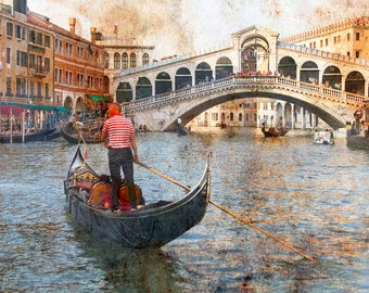 Rialto Bridge Venice Italy, Gondola Grand Canal Venice, Gondola And Rialto Bridge, Rialto Bridge Print, Fine Art Photo