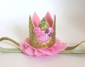 Minnie Pink and Gold Birthday Crown Minnie Mini Crown First Birthday Crown Headband Minnie Headband Pink and Gold Crown Headband