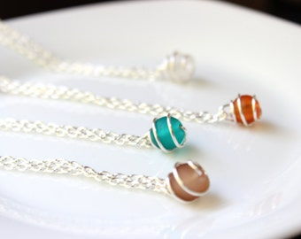 Short 1 Wire Wrapped Bead Necklace(Various Color options)