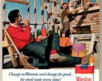 "1965 Winston cigarettes vintage magazine ad "" for good taste everytime"" Winston taste good like a cigarette should"