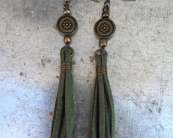 Tassel Earrings - olive green