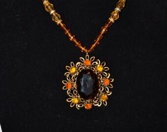 Vintage amber and orange pendant/necklace  (#56)