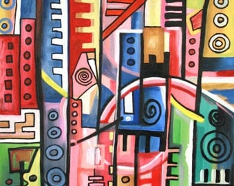 """Original oil Painting,Cubism Painting,Abstract Painting.Art-Collectibles,Colorful African Painting,Pop Art: Optimism-ID1011-35""""H x 24""""W"""