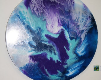 "Abstract Resin Art - Round ""Mother of Pearl"""