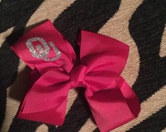 OU monogram bow - Sooners bow - Sooners monogram bow - Oklahoma Sooners bow