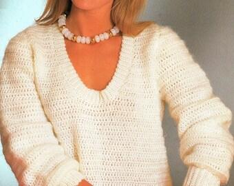 Ladies V Neck Sweater, Crochet Pattern. PDF Instant Download.