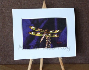 Dragonfly on blue violet, print on linen paper, size 20.3 x 25.4 cm. Gift, decoration. A pleasure to offer or for yourself!