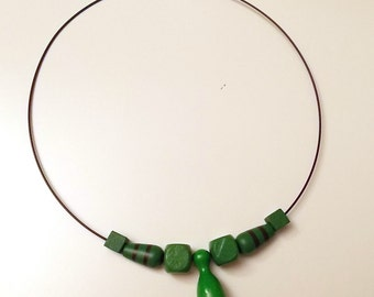 Geeky necklet with meeple halma pin poeppel, green, Board Game