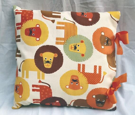 Natural, Orange, Yellow Multi Lion Print Handmade Ribbon Tie Cushion Cover Childs Room Nursery
