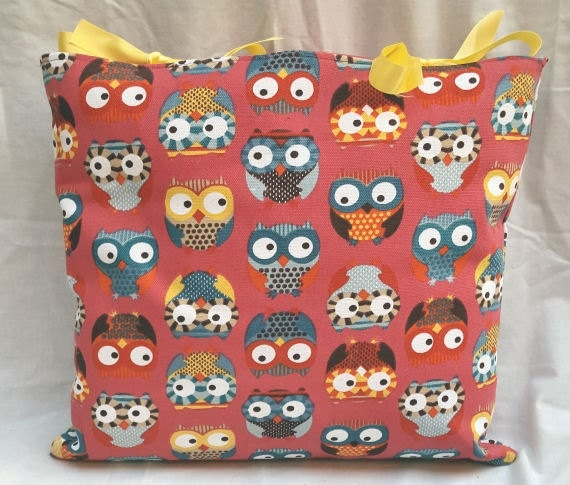 Pink Multi Owl Print Handmade Yellow Ribbon Tie Cushion Cover Bright