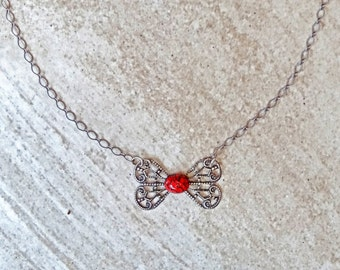 Recycled Vintage Silver Bow Pendant Short Necklace with Antique Silver Chain