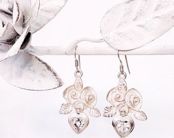 Large rose and Heart Swarovski crystal earrings