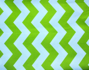 Michael Miller / Chevron Fabrics / White and Lime Green / Quilting Patchwork Sewing Decor Cover Dress Blanket Mat / Half Metre