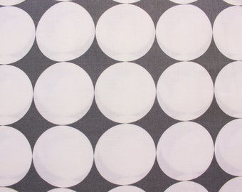 On SALE 30% OFF Michael Miller Fabric / Dot Fabric / Monochrome Fabric / Cotton Fabric / Large White Dots on Dark Grey / Half Metre